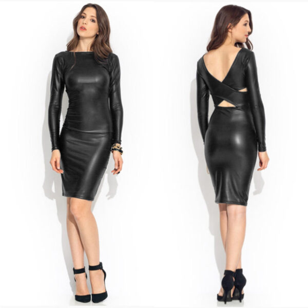 sexy faux leather women casual dress Hot Avenue shop