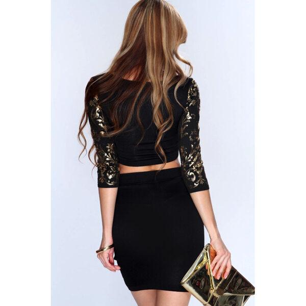 2 osainen minihame toppisetti - Sexy 2pcs Gold Black set back Hot Avenue shop