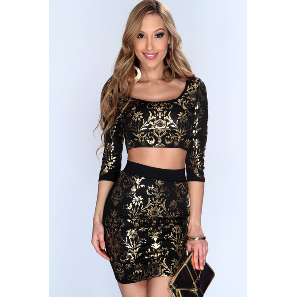 2 osainen minihame toppisetti - Sexy 2pcs Gold Black set front Hot Avenue shop