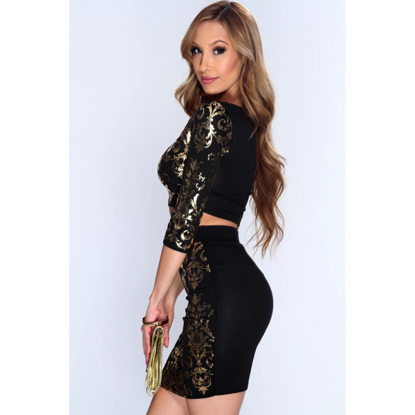2 osainen minihame toppisetti - Sexy 2pcs Gold Black set side 2 Hot Avenue shop