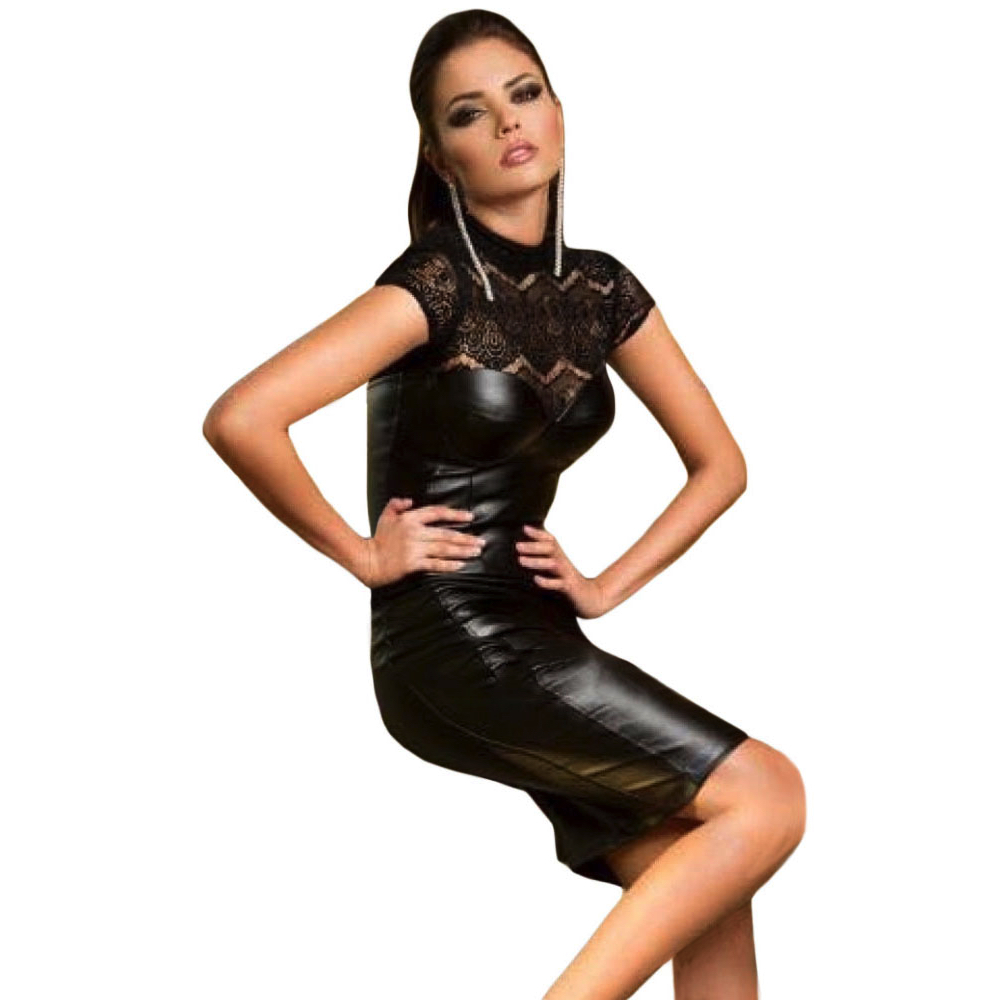 Seksikäs pitsikauluksinen nahkajäljitelmä mekko Black-Lace-High-Neck-Cupped-Leatherette-Dress Hot Avenue shop