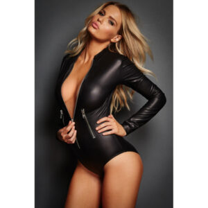 Body pitkähihainen nahkajäljitelmä - Black Leathery Long Sleeve Zip Detail Bodysuit Hot Avenue