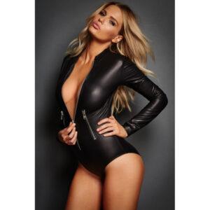 Body pitkähihainen nahkajäljitelmä - Black Leathery Long Sleeve Zip Detail Bodysuit Hot Avenue