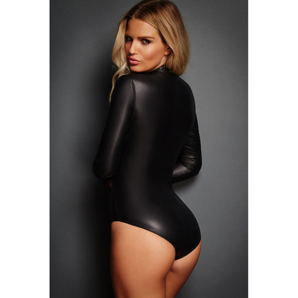 Black Leathery Long Sleeve Zip Detail Bodysuit back Hot Avenue shop