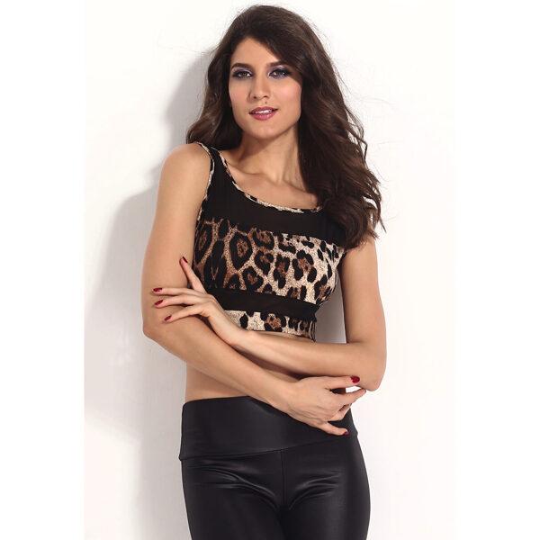 Leopard Print Mesh Accent Cropped Top - Toppi Leopardi kuviolla pic4- Hot Avenue shop