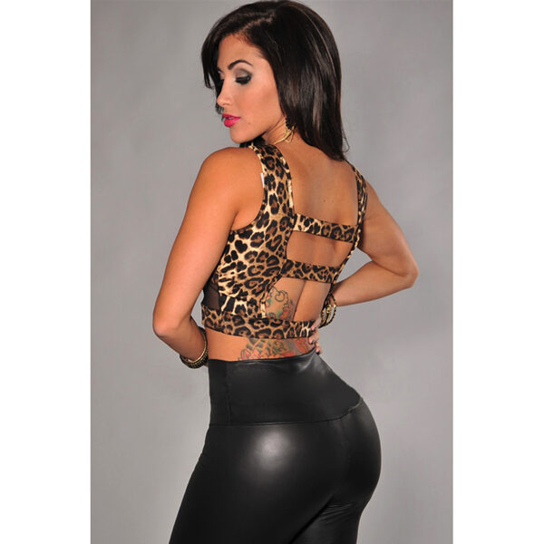Leopard Print Mesh Accent Cropped Top - Toppi Leopardi kuviolla side - Hot Avenue shop