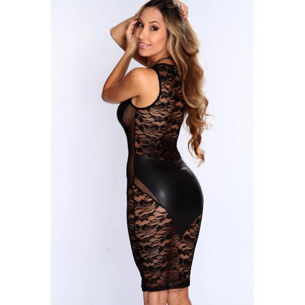 Musta keinonahkainen mekko kukka pitsillä-Black Faux Leather Floral Dress-Hot Avenue Shop