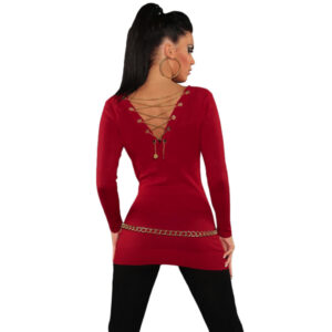 Punainen neule koriste ketjulla - Red-Knit-V-Neck-Chain-Lace-up-Back-Sweater-Top Hot Avenue shop