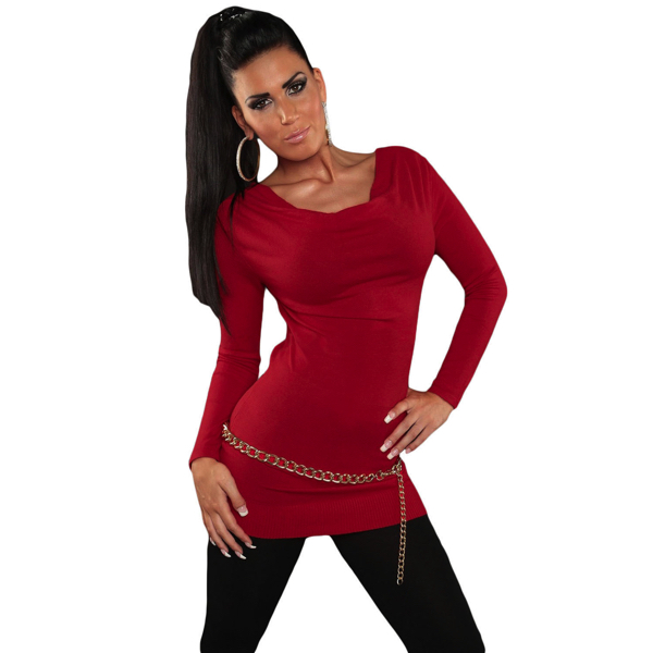 Punainen neule koriste ketjulla front Red-Knit-V-Neck-Chain-Lace-up-Back-Sweater-Top front Hot Avenue shop