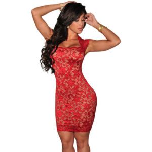 Punainen pitsimekko - Red Lace Nude Illusion Dress Hot Avenue shop etusivulla