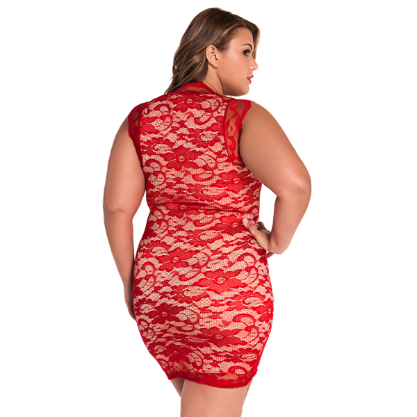 Punainen pitsimekko - Red Lace Nude Illusion Dress back2 Hot Avenue shop