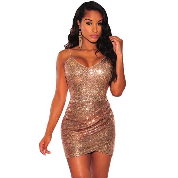 Rose Gold Sequin Ruched Club Dress-Ruusukultainen paljettimekko - Hot Avenue shop