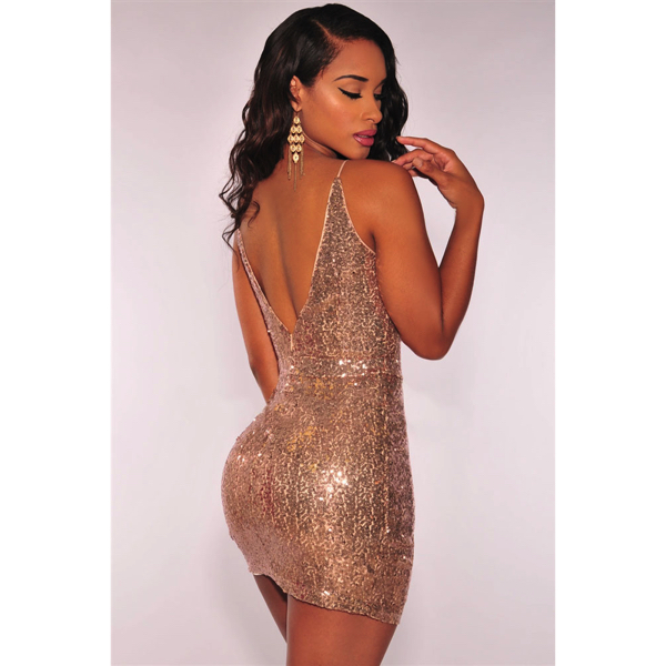 Rose Gold Sequin Ruched Club Dress-Ruusukultainen paljettimekko back - Hot Avenue shop