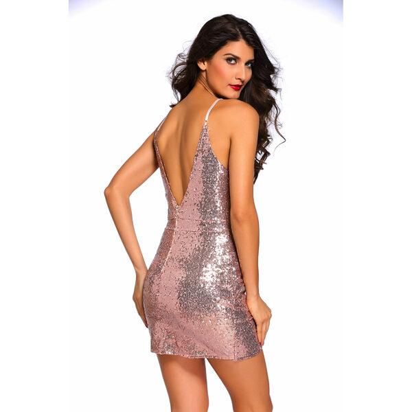 Rose Gold Sequin Ruched Club Dress back2 - Ruusukultainen paljettimekko - Hot Avenue shop