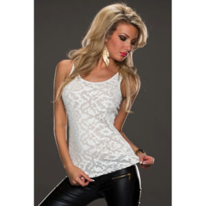 Valkoinen pitsitoppi - White Leather Lace Surface Sleeveless Hot Avenue shop