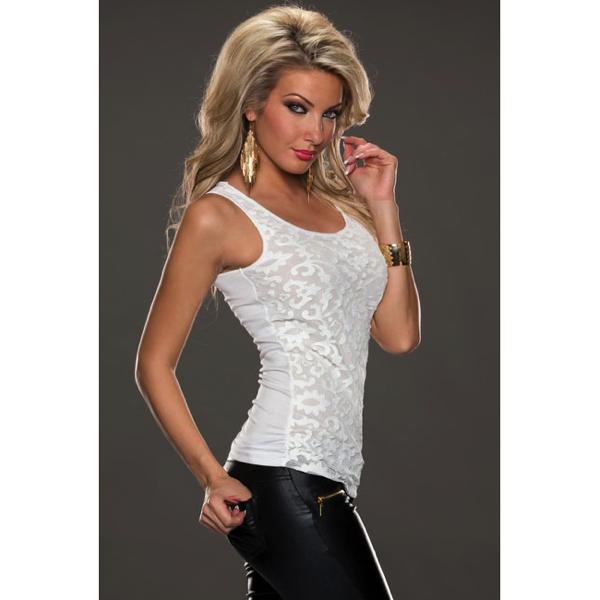 Valkoinen pitsi toppi sivulta - White Leather Lace Surface Sleeveless Top 2 Hot Avenue