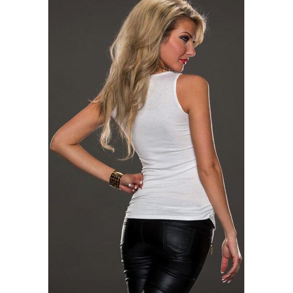 Valkoinen pitsi toppi takaa - White Leather Lace Surface Sleeveless back Hot Avenue shop