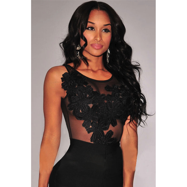 Black Floral Sheer Bodysuit Black - Musta kukka body - Hot Avenue shop pic3