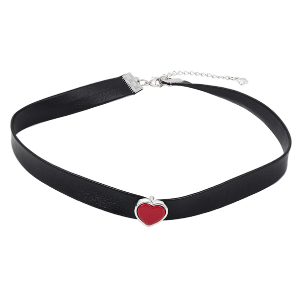 Choker black leather necklace Red Heart – Nahkainen kaulanauha kaulakoru punainen Hot Avenue shop