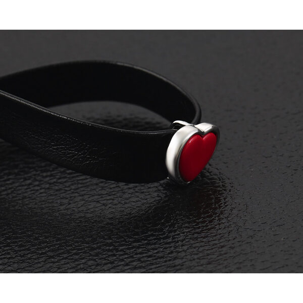 Choker black leather necklace Red Heart – Nahkainen kaulanauha kaulakoru punainen Hot Avenue shop pic5