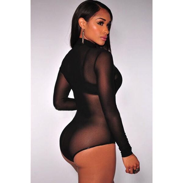 Mesh High Neck Bodysuit black - Korkeakauluksinen Body musta - Hot Avenue shop pic 2