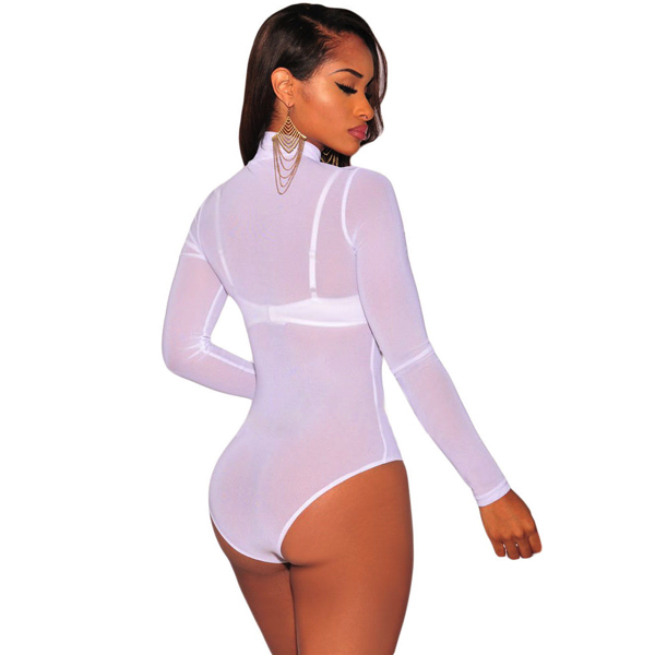 Mesh High Neck Bodysuit white - Korkeakauluksinen Body valkoinen - Hot Avenue shop pic2