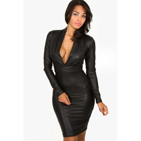 V-neck Long sleeve Leather-Dress - V-aukkoinen nahkajäljitelmä mekko - Hot Avenue shop