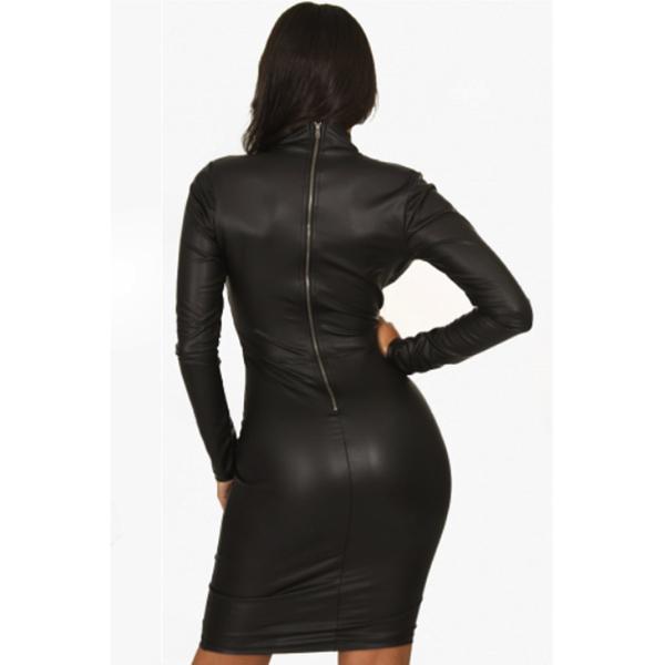 V-neck Long sleeve Leather-Dress - V-aukkoinen nahkajäljitelmä mekko - Hot Avenue shop pic2