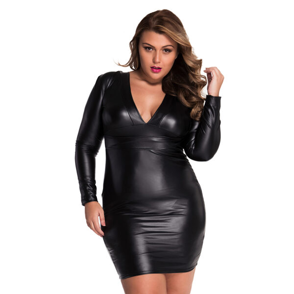 V-neck Long sleeve Leather-Dress - V-aukkoinen nahkajäljitelmä mekko - Hot Avenue shop pic3