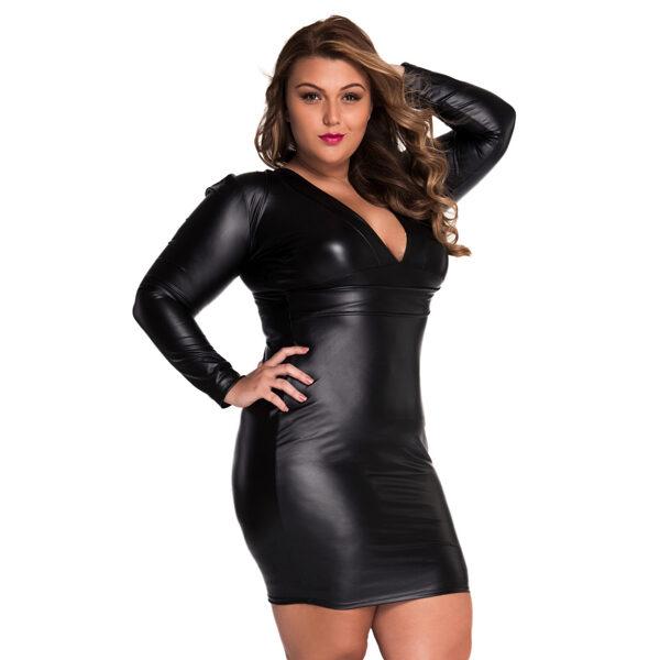 V-neck Long sleeve Leather-Dress - V-aukkoinen nahkajäljitelmä mekko - Hot Avenue shop pic4