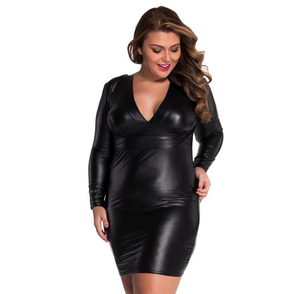 V-neck Long sleeve Leather-Dress - V-aukkoinen nahkajäljitelmä mekko - Hot Avenue shop pic5