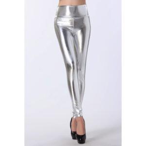 Hopeiset Korkeavyötäröiset Leggingsit - Silver High Waist Leggings - Hot Avenue shop