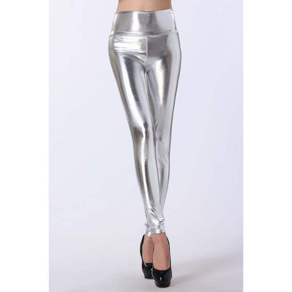 Hopeiset Korkeavyötäröiset Leggingsit - Silver High Waist Leggings - Hot Avenue shop