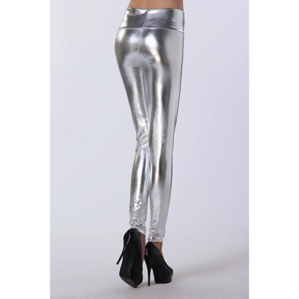 Hopeiset Korkeavyötäröiset Leggingsit - Silver High Waist Leggings pic 3 - Hot Avenue shop