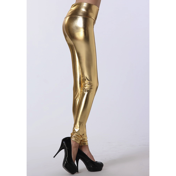 Kultaiset Korkeavyötäröiset Leggingsit - Gold High Waist Leggings - Hot Avenue shop