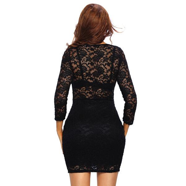 Musta pitsimekko - Black Lace V neck Mini Club Dress pic 3 - Hot Avenue shop