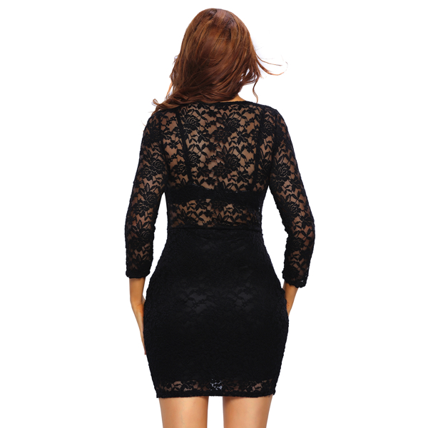 Musta pitsimekko - Black Lace V neck Mini Club Dress pic 3 - Hot Avenue shop