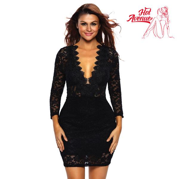 Musta pitsimekko - Black Lace V neck Mini Club Dress pic 4 - Hot Avenue shop