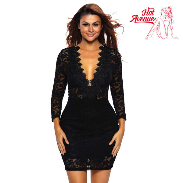 Musta pitsimekko - Black Lace V neck Mini Club Dress pic 4 - Hot Avenue shop