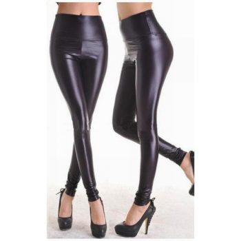 Mustat Leggingsit wetlook - Fashion Black Faux Leather Leggings - Hot Avenue shop
