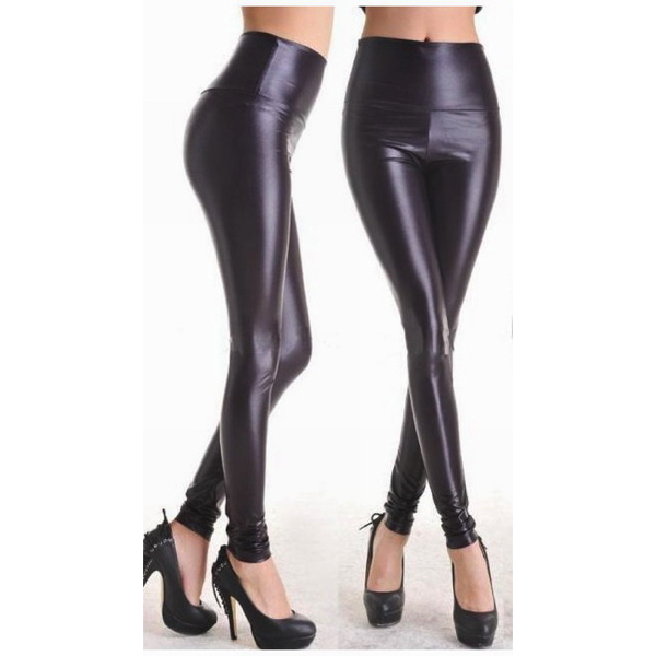 Mustat Leggingsit wetlook - Fashion Black Faux Leather Leggings pic 2 - Hot Avenue shop