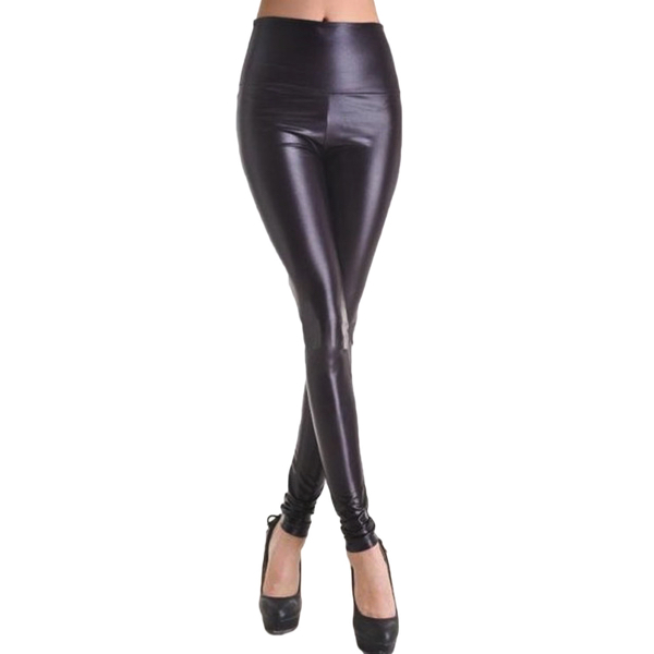 Mustat Leggingsit wetlook - Fashion Black Faux Leather Leggings pic 3 - Hot Avenue shop