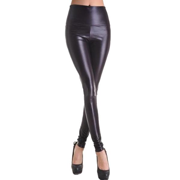 Mustat Leggingsit wetlook - Fashion Black Faux Leather Leggings pic 3 - Hot Avenue shop