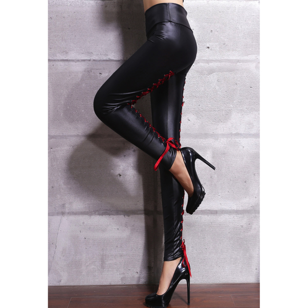 Mustat Nahkalegginsit Punaisilla Nyöreillä - Red Lace Up Back Stretch Leather Leggings pic 2 - Hot Avenue shop