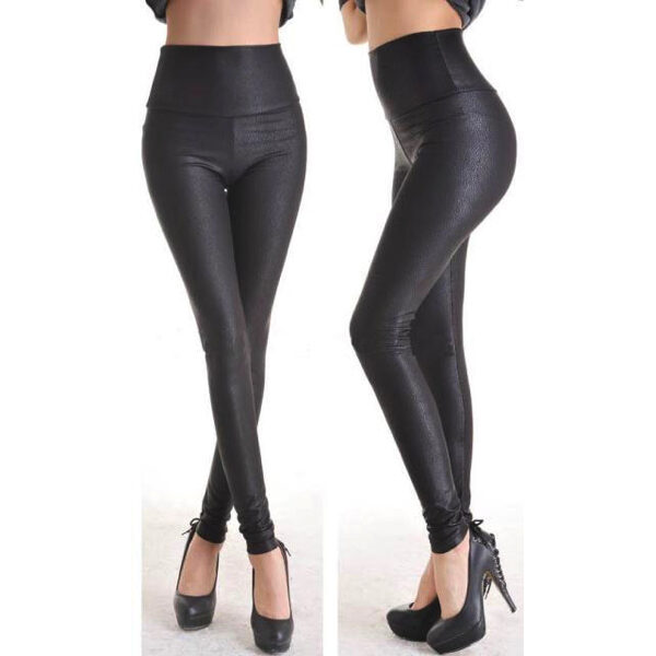 Syvän mustat mattapintaiset Leggingsit - Fashion Deep Black Faux Leather Leggings - Hot Avenue shop