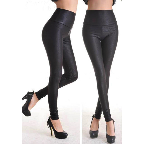 Syvän mustat mattapintaiset Leggingsit - Fashion Deep Black Faux Leather Leggings pic 2 - Hot Avenue shop