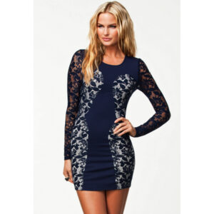 Laivastonsininen Pitsimekko - Sexy Navy Color Block Lace Vintage Dress - Hot Avenue Shop