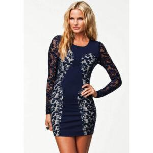 Laivastonsininen Pitsimekko - Sexy Navy Color Block Lace Vintage Dress - Hot Avenue Shop