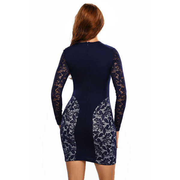 Pitsimekko laivaston sininen - Sexy Navy Color Block Lace Vintage Dress pic 6 - Hot Avenue Shop