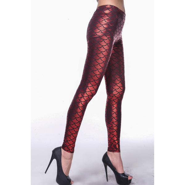 Punaiset Metallinhohto Kalansuomu Legginsit - Red Metallic Scales Leggings pic2 - Hot Avenue shop